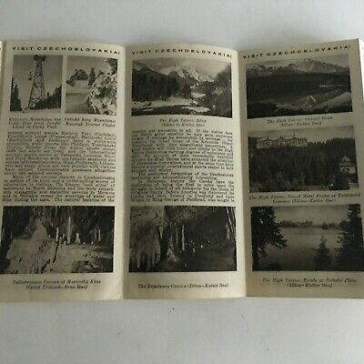 """Vintage 1960's Visitor's Guide Czechoslovakia Tourism 31.5"""" X 8"""" 6"""