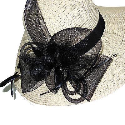 Cappello elegante cerimonia falda fascinator piume veletta nero rosa blu D0596 5