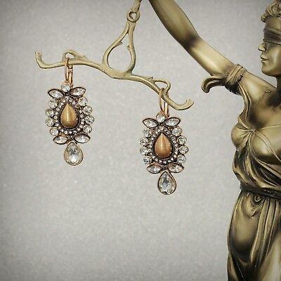 Boucles d/'Oreilles Dormeuse Doré Goutte Metal Ancien Style Retro Baroque B3