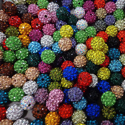 100Pc Czech Crystal Glass Rhinestone Pave Clay Disco Ball Spacer Loose Bead 10MM 2