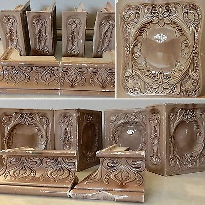 Antique Italian Glazed Brick Tile Fireplace Mantle, Fireplace Tiles Set Of 6 2