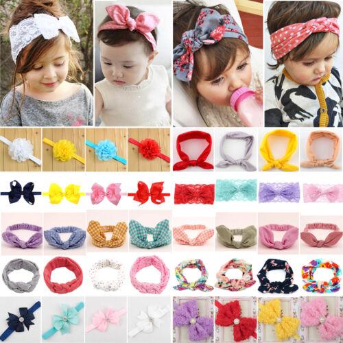 Girls Kid Baby Cotton Bow Hairband Headband Stretch Turban Knots Head Wrap New 3