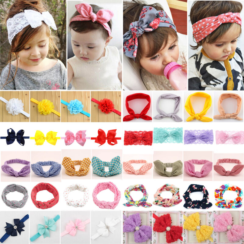 Baby Girls Bunny Cute Kids Ribbon Knot Rabbit Headband Bow Hair Bands Head Bow 2
