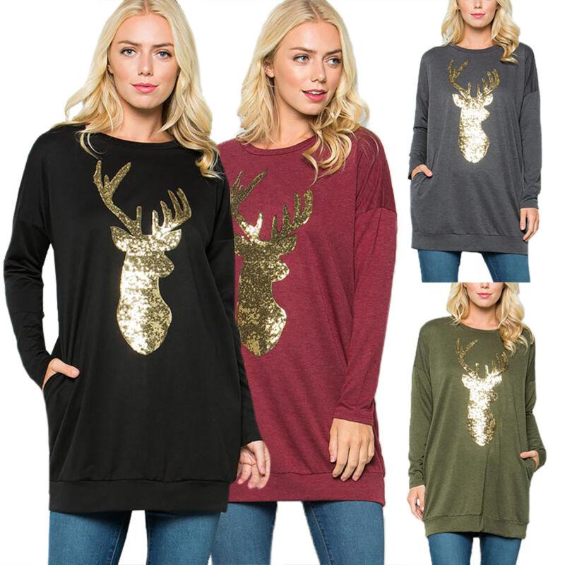 XMAS Women Sweatshirt Sweater Jumper Girls Christmas Hoodie Pullover Tops Blouse 10