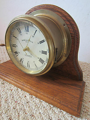 "Nautical, Brass & Wood, ""Quartz"" Mantle Clock 4"