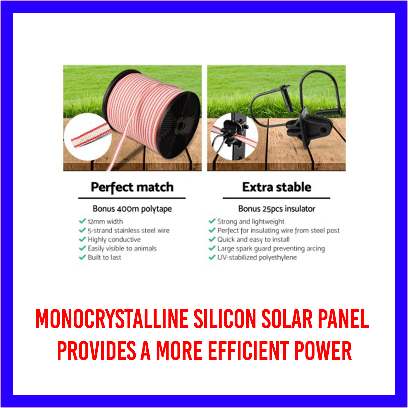 3km Solar Electric Fence Energiser/Charger Kit 400m Tape 25 Insulators and Sign 6