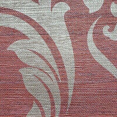 Burgundy gold metallic damask textured faux grasscloth texture wallpaper roll 3D