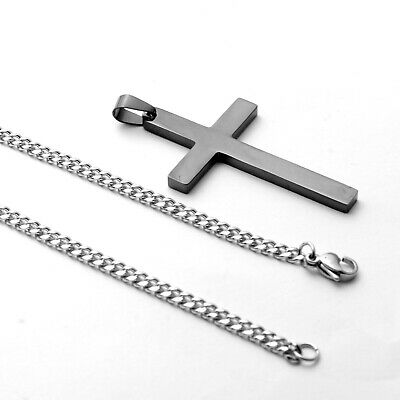 Stainless Steel Plain Silver Jesus Cross Crucifix Pendant Necklace Mens & Womens 6