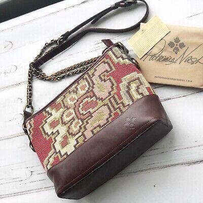 NWT Patricia Nash Crossbody Bag Shoulder Handbag Tapestry Leather burgundy brown 9