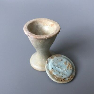 RARE Ancient Egyptian Blue - Green Glazed Faience Offering Cup With Lid