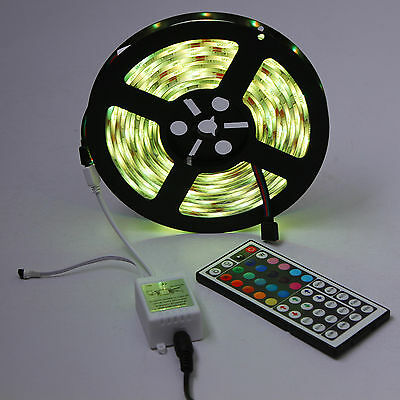 1-30M SMD 5050 RGB LED Strip Light Flexible Lighting 12V IR Controller Adapter
