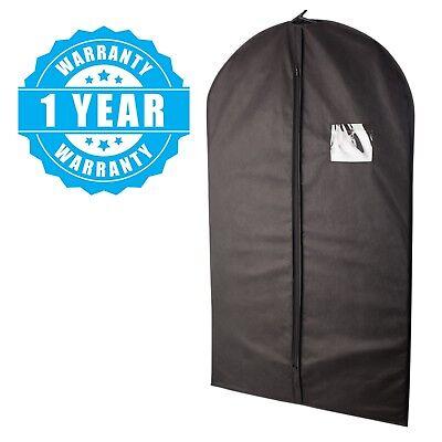 5 Pcs 40-inch Garment Bag for Suit Dress Storage Black with Transparent Window 3