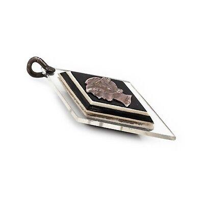 "Antique Vintage Art Deco Sterling Silver Geometric Greek Hermes 1.9"" L Pendant 3"