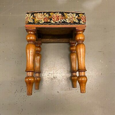 🌟Shabby Antique Wooden Square Tapestry Top Stool Seat Chair 5