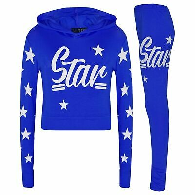 Girls Kids Star Hooded Jogging Set Lounge Suit Lightweight Tracksuit Ages 7-13 2
