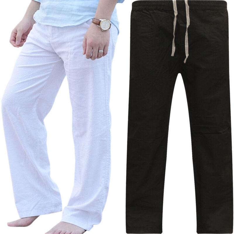 Mens Cotton Linen Loose Pants Summer Casual Beach Drawstring Trousers Slacks UK 8
