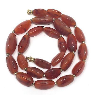 (eVB946)  Tibet : Old Carnelian Beads Necklace (60cm) 5