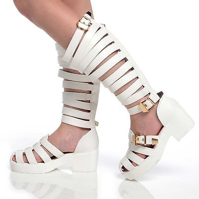 6bd42faa40c 3 of 4 Womens Chunky Ladies Strappy Knee High Leg Gladiator Sandals Shoes  Size 3-8