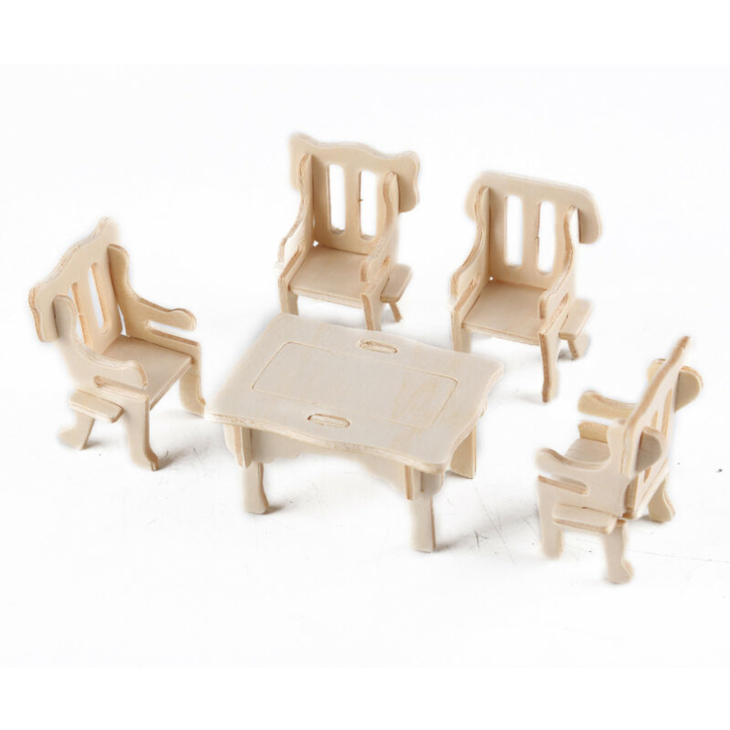 34Pcs/ Set Vintage Wooden Furniture Dolls House Miniature Toys Kids Gifts New
