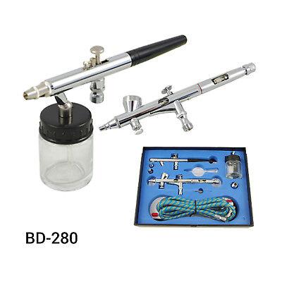 Airbrush Kompressor Airbrushpistole Komplett-Set Double-Action Pistolen Halter 8