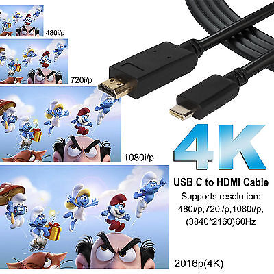 USB-C Type C USB 3.1 Male to HDMI Female Adapter Cable For LeTV Phone MacBook 12 11