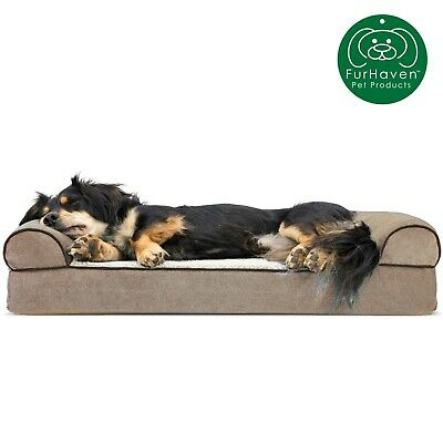FurHaven Pet Faux Fleece & Chenille Soft Woven Sofa Dog Bed 7