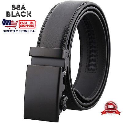 Mens Genuine Leather Automatic Buckle Ratchet Business Golf Dress Belt 3