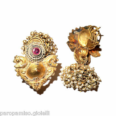 Tamil Nadu Earrings, 22k Gold-Rubis-Basra Pearls  (0729) 5