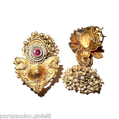 Tamil Nadu Earrings, 22k Gold-Rubis-Basra Pearls  (0729) 5 • CAD $6,521.84