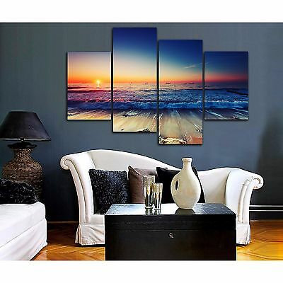 Framed stretched canvas prints seascape print Sunset beach modern art wall ocean 2