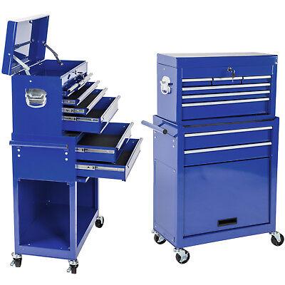 Chariot à outils servante d/'atelier caisse coffre malle rangement amovible bleu