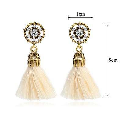 Women Bohemian Fashion Rhinestone Long Tassel Hook Fringe Dangle Drop Earrings 3