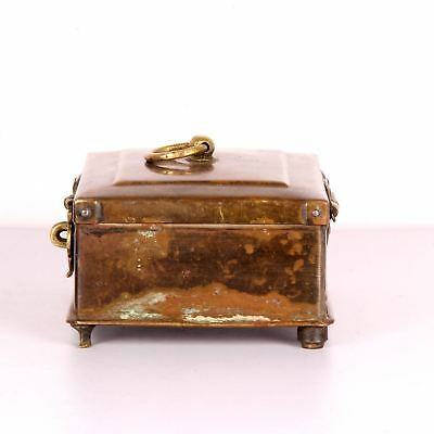 Antique Brass Miniature Collectible Mughal Style Betel Nut Box With Lock System 2