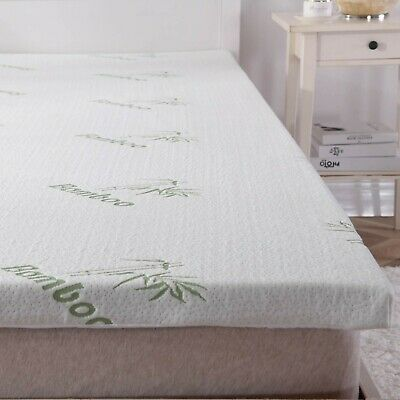 Bamboo Memory Foam Mattress Topper Thick With Zipped Cover 2