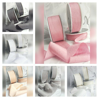 13, 25,38mm Faux Silk Ribbon. Wedding Pink Ivory Red White Grey Blue Nude Silky 2