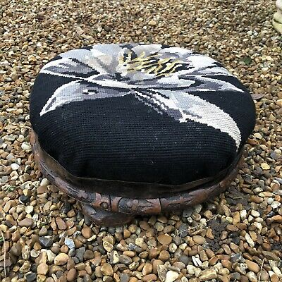 🌈Antique Small Round Carved Wooden Floral Tapestry Topped Footstool Stool Prop 5
