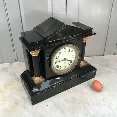 Antique Victorian black slate mantel clock - restoration project 11