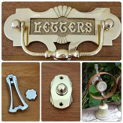 Brass Escutcheons Key Hole Cover 10 Door Knobs Handles Lock Finger Plate 11