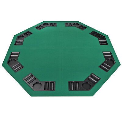 """48"""" Folding Octagon Poker Card Game Table Top w/Cup Chip Holders Blackjack Party 10"""