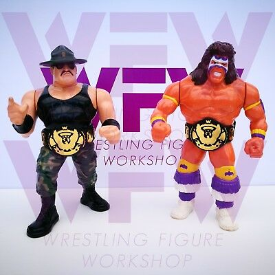 6x Belt Black//White Set WFW Belts for WWF Hasbro WWE Mattel Wrestling Figures