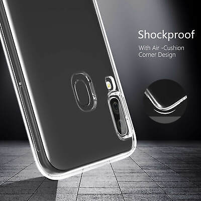 Samsung Galaxy A40 A50 Clear Gel Case Tempered Glass Screen Protector TPU Cover 11