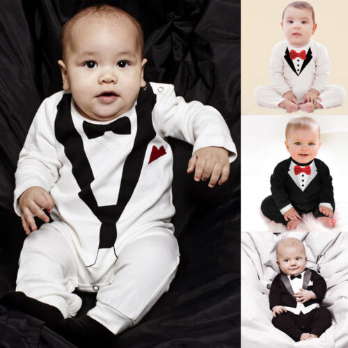 430425fd9cb3 2 of 8 Baby Kids Boys Formal Suit Party Wedding Tuxedo Gentleman Romper  Jumpsuit Outfit