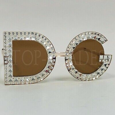 Designer Style Clear Lens Big Large Painted Bling D G Plastic Shades Sunglasses