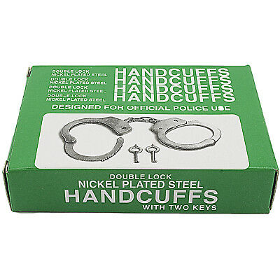 New Nickle Plated Double Lock Police Hand Cuffs W/ Keys 7
