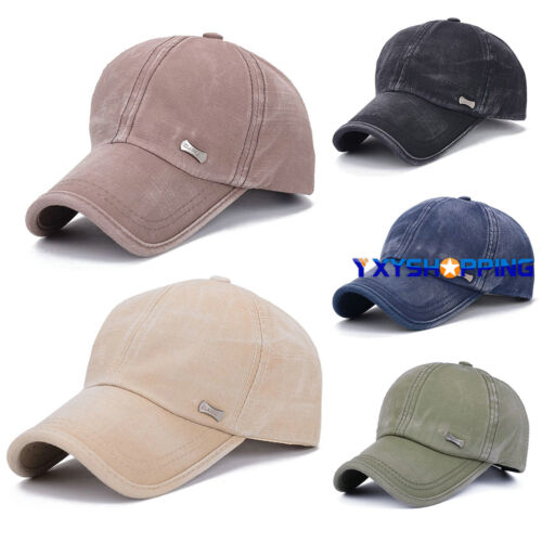 Unisex Retro Men Plain Classic Baseball Caps Peaked Stonewash Casual Sports Hats 3