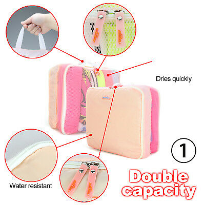 5pcs Packing Cube Pouch Suitcase Clothes Storage Bags Travel Luggage Organiser 4