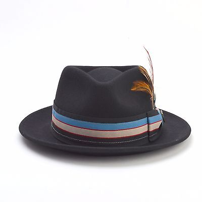 MEN WOMEN PREMIUM 100% Wool Felt Dress Fedora Hat – Black Brown Gray ... 007539675f76