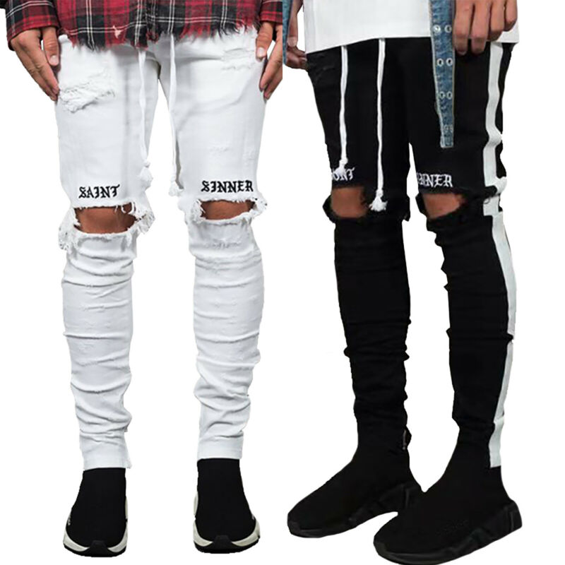 Mens Boys Stretch Skinny Ripped Jeans Biker Frayed Denim Leisure Tight Trousers 10