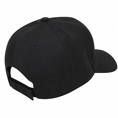 Baseball Cap Plain Black Loop Adjustable Solid Hat Polo Style One Size Mens 3