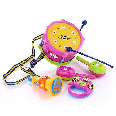 5Pcs/Set Baby Boy Girl Drum Musical Instruments Drum Set Children Toys UK 12